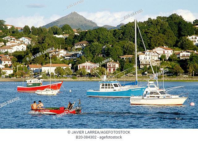 Txingudi Bay. Mount Larrun to the rear. Hendaye. Aquitaine. France