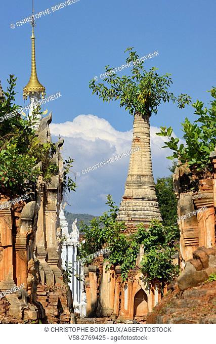 Myanmar, Shan State, Inle Lake, Indein (Inthein) village, Ruined stupas