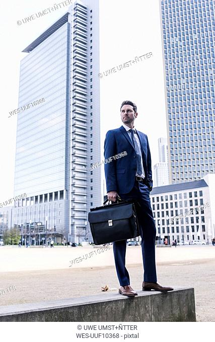 Businessman standing on wall, carrying briefcase