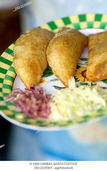 Pie-empanada ready to serve in a restaurant in Palenque town, Palenque, Chiapas State, Mexico, North America
