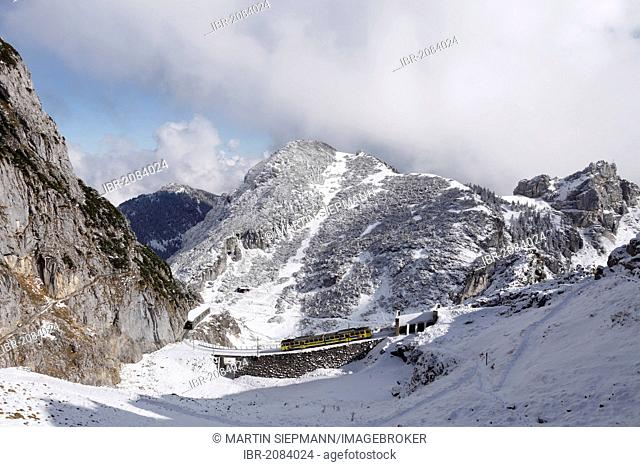 Wendelstein rack railway and Mt Soinwand, view from Mt Wendelstein, Mangfall mountains, Upper Bavaria, Bavaria, Germany, Europe, PublicGround