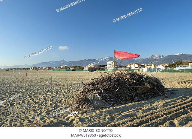 spiaggia nel mese di marzo, marina di pietrasanta, versilia, italia