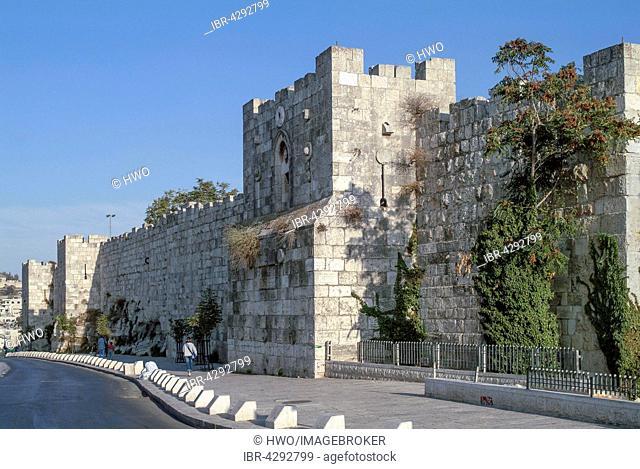 City walls along Sultan Süleyman Street, Muslim Quarter, Old City, Jerusalem, Israel
