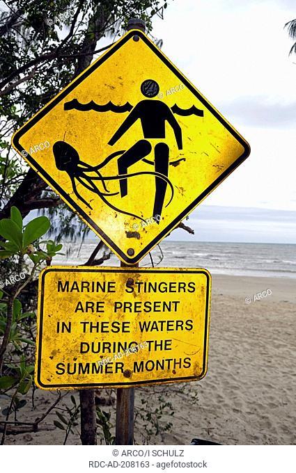 Warning label of Box Jellyfish, Queensland, Australia, Chironex fleckeri, Marine Stinger, Sea Wasp