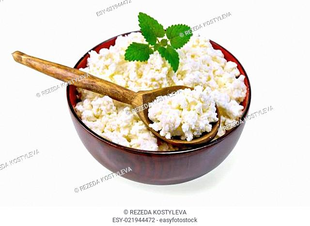 Curd in wooden bowl with spoon