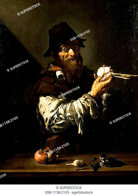 Old Man with Onions by Jusepe De Ribera, 1591-1652