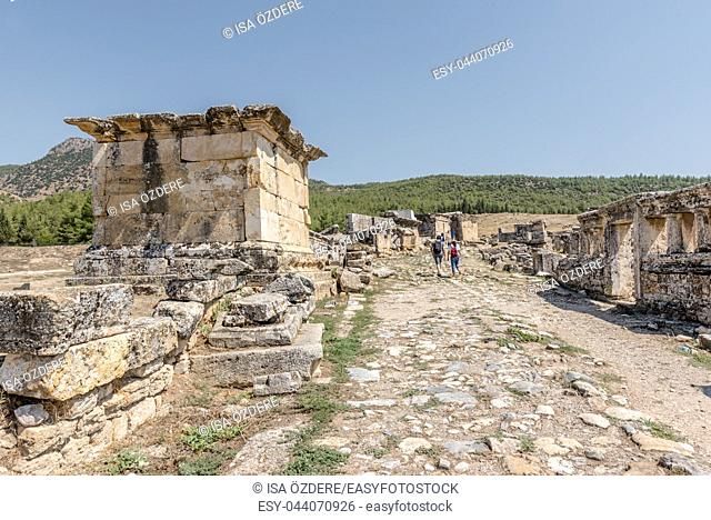 People visit Ancient tombs at Hierapolis northern necropolis in Pamukkale, Turkey. UNESCO World Heritage