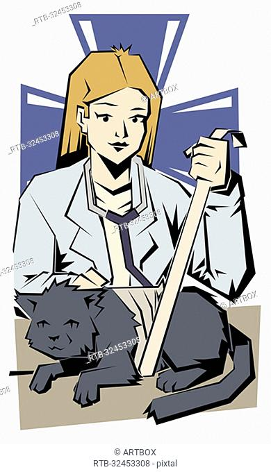 Female vet bandaging a cat