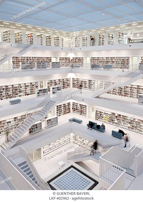 Interior view of the new public library Stuttgart, Baden-Wuerttemberg, Germany, Europe