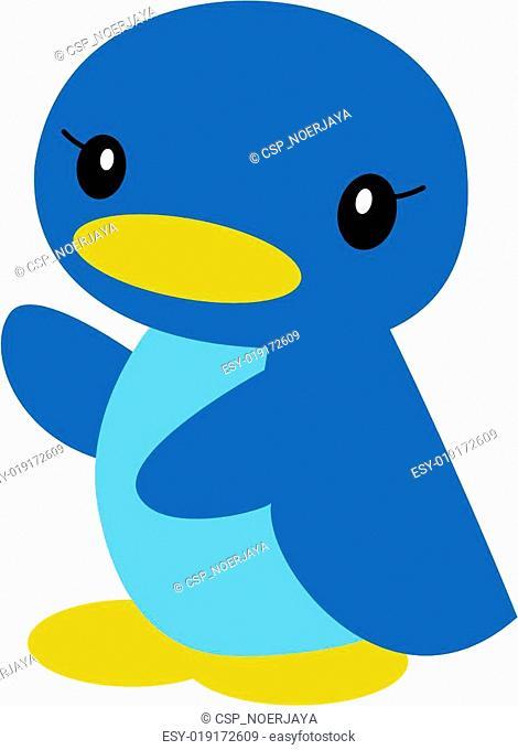 blue duck is running