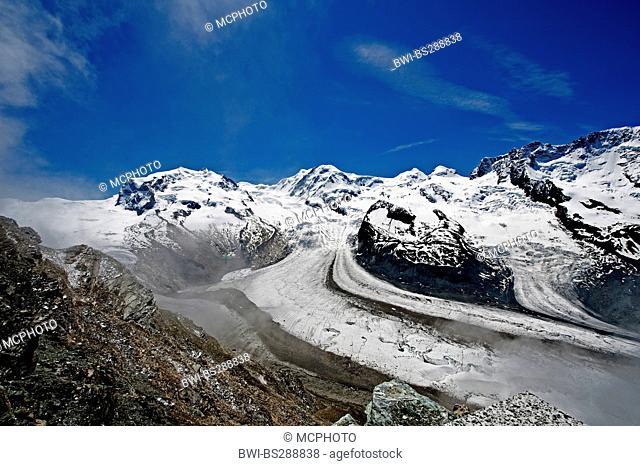 Monte Rosa Massif with Gorner Glacier, Switzerland, Valais Alps