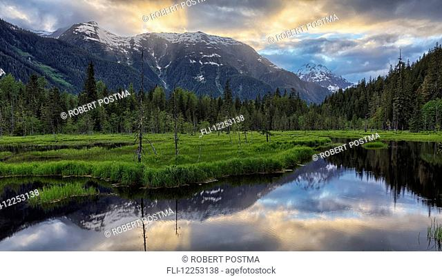 Sunset over the Tongass National Forest near Hyder; Alaska, USA