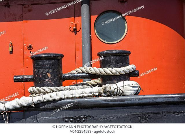 Close up of ropes on the historic steam tugboat Hercules in the San Francisco Maritime National Historical Park, San Francisco, California, USA