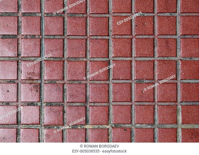 Old red tiled floor. Good as backdrop or background