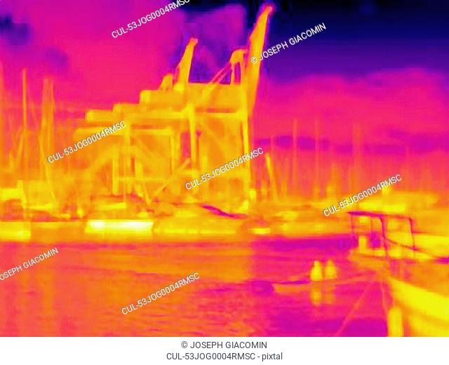 Thermal image of urban harbor