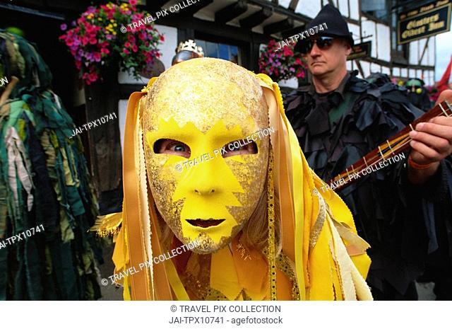 England, Kent, Rochester, Masked Morris Dancer