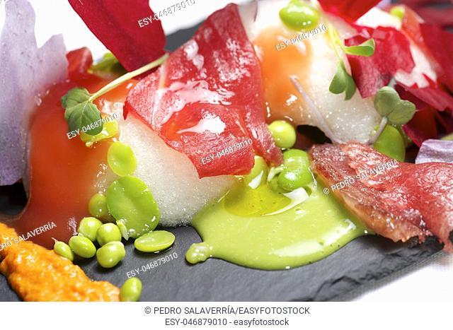 Tuna salad served on a tray slate