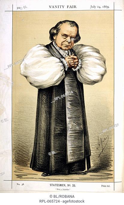 The Bishop of Oxford, Statesmen, no.25. Not a brawler. Bishop Samuel Wilberforce, English prelate 1805-73. Image taken from Vanity Fair
