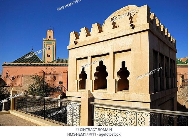Morocco, High Atlas, Marrakesh, Koubba Ba'adyin, Ali Ben Youssef Mosque in the background