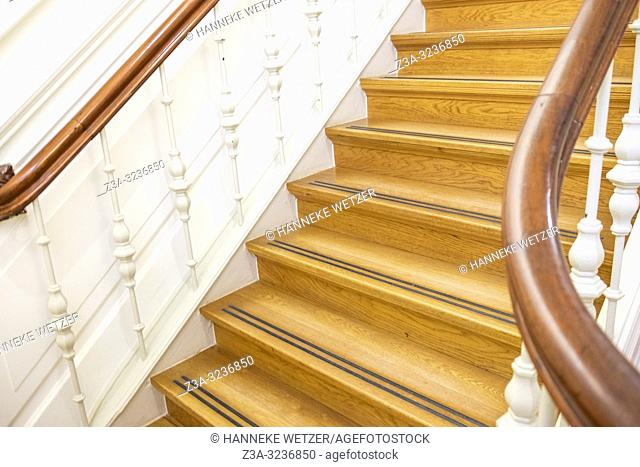 Old wooden stairs in Villa Constance, Oss, The Netherlands, Europe