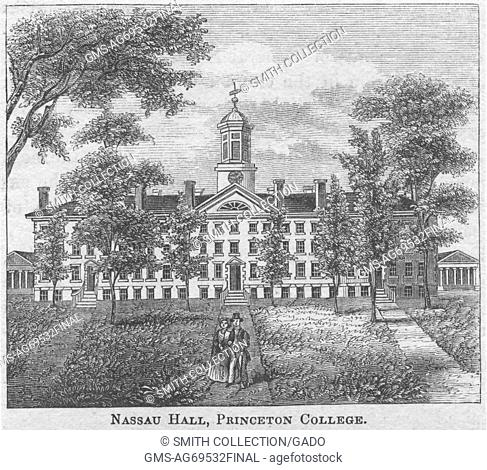 An engraving depicting the exterior of Nassau Hall at Princeton University, the building was constructed in 1756 and is the oldest building on the campus