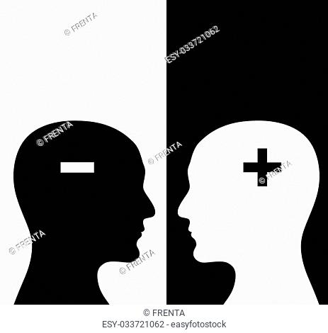Contrast concept. Two humans profiles of white and black colors with brains in the plus and minus form. Isolated on black and white backgrounds