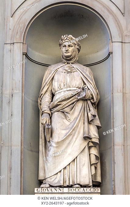 Florence, Florence Province, Tuscany, Italy. Statue in Piazzale degli Uffizi of Italian poet Giovanni Boccaccio, 1313-1375
