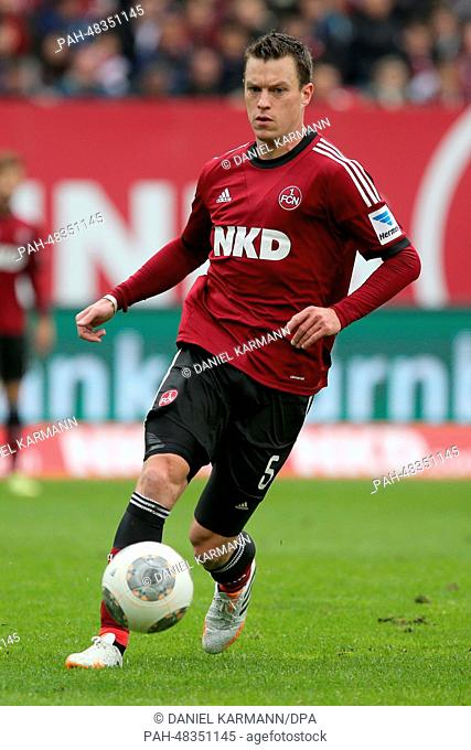 Nuremberg's Hanno Balitsch plays the ball during the German Bundesliga soccer match between FC Nuremberg and Hannover 96 at Grundig Stadion in Nuremberg