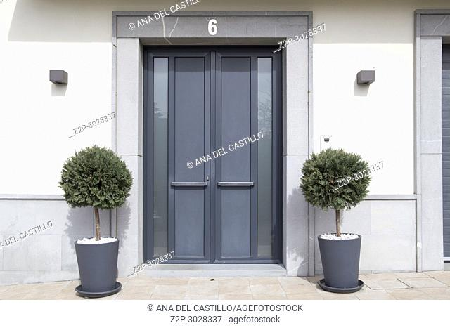 Cizur Menor village in Navarre Spain Number six door entrance in building