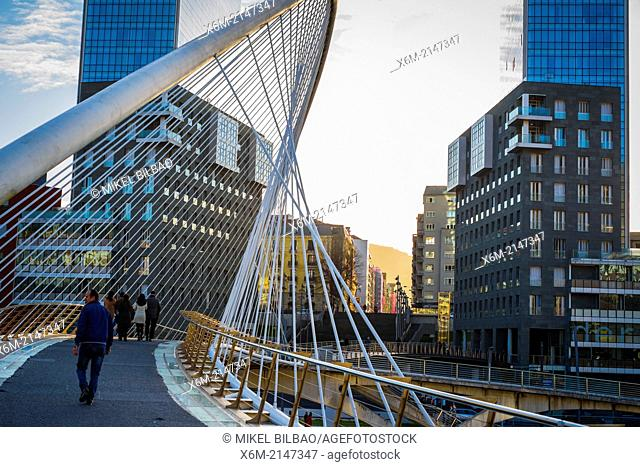 Zubizuri or Calatrava Bridge and Isozaki Atea Towers. Bilbao, Spain