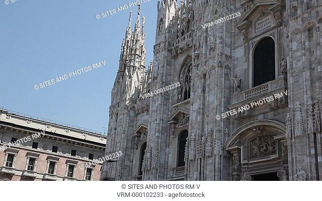 Exterior, TILT up, daylight, LA, view of the Cathedral's main entrance, facade upper part and spires