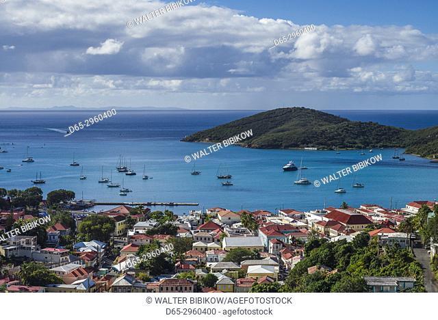 U. S. Virgin Islands, St. Thomas, Charlotte Amalie, elevated town view
