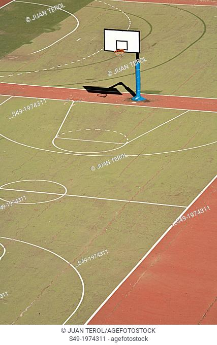 Basketball Court in a School. Valencia, Spain