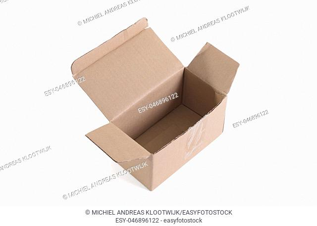 Cardboard box with flip open lid, lid open, isolated on white