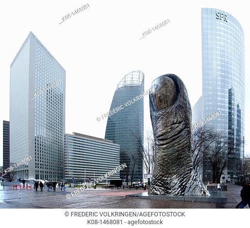 La Defence, business, financial, district, Arche, tower, thumbs sculpture by Cesar, GDF, SUEZ, SFR, towers, place, France, París