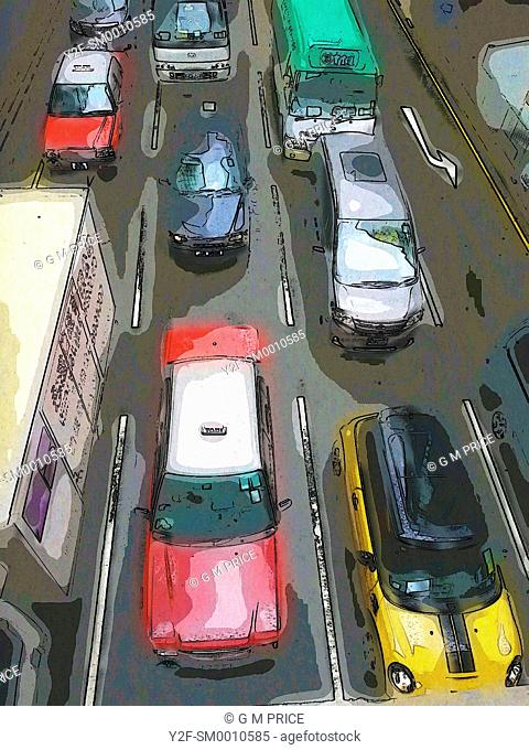 smudged, pencil outline view of Hong Kong traffic
