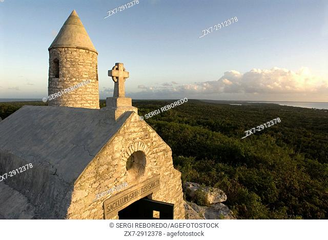 The Ermite small monastery at the top of Mount Alvernia on Cat island, over 63 meters, Bahamas. Mt. Alvernia Hermitage and Father Jerome's tomb atop Como Hill