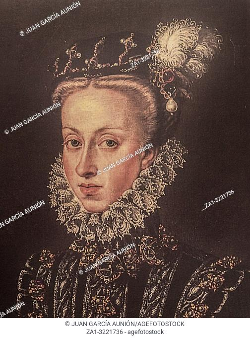 Anna of Austria, Queen of Spain painted by Alonso Sanchez Coello. Reproduction at Luis de Morales Museum, Badajoz, Spain, from Original play at Museo del Prado