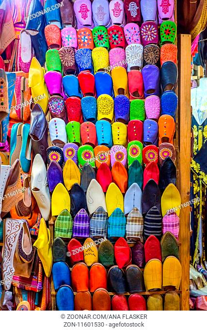 Colorful handmade Moroccan leather slippers for sale, Fez, Morocco