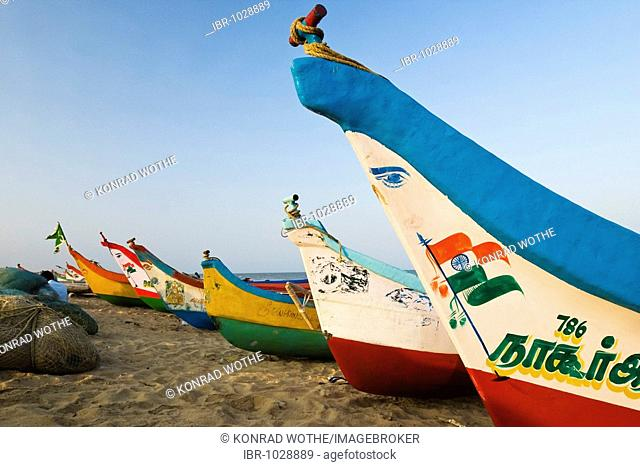 Fishing boats on Marina Beach, Chennai, Madras, India, South Asia