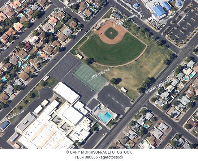 Aerial view of housing pattern and sports facilities in urban subdivision, Nevada