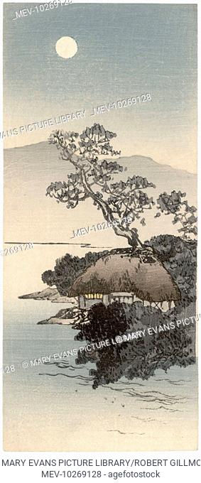 A very small wood engraving of a Japanese landscape scene with a house nestled at the side of a large lake, bathed in moonlight
