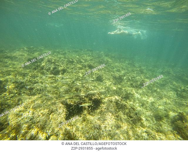 Underwater image with swimmer Las Rotas nature reserve Denia Alicante Spain