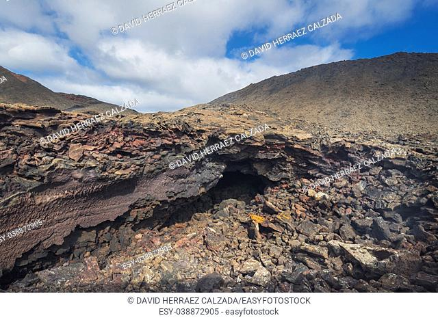 Amazing volcanic landscape. Geological lava detail in Timanfaya national park, Lanzarote, canary islands, Spain