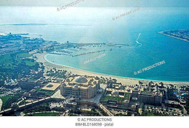 Aerial view of Abu Dhabi cityscape and coastline, Abu Dhabi Emirate, United Arab Emirates
