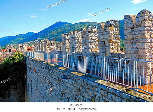 View of the walkway into the castle of Emperor in Prato, Italy,a fortress with crenellated walls and towers. Built for the medieval emperor and King of Sicily...