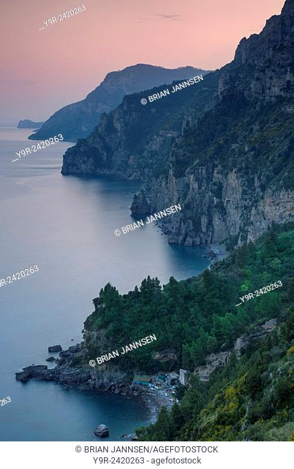 Evening view over the Amalfi Coast near Positano, Campania, Italy