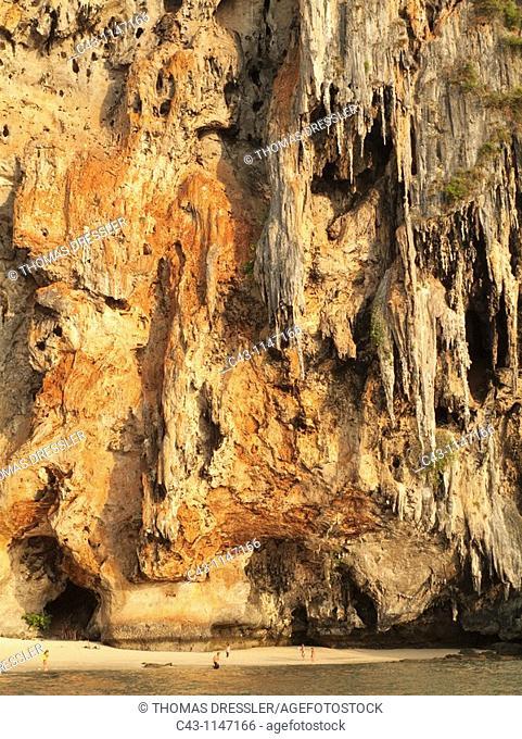Thailand - Limestone cliff at the Phranang Beach  Phranang Peninsula, Krabi province, Southern Thailand