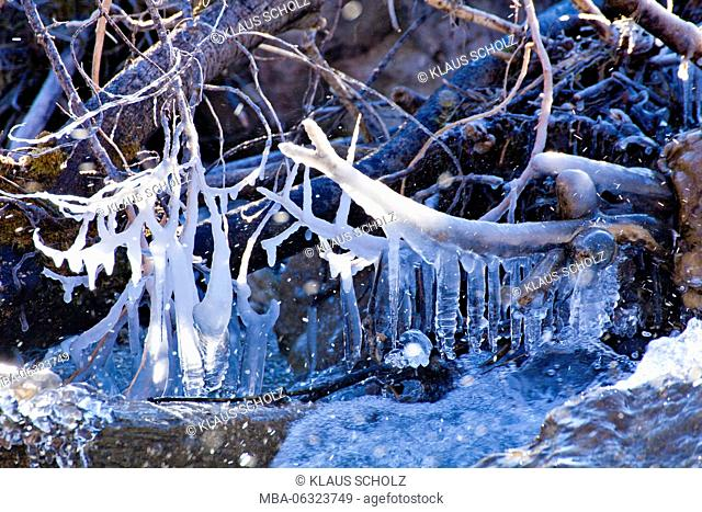 natural forms of ice in mountain river