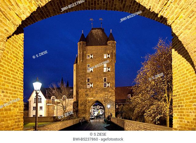 Kleve gate, Klever Tor, in Xanten at blue hour, Germany, North Rhine-Westphalia, Xanten